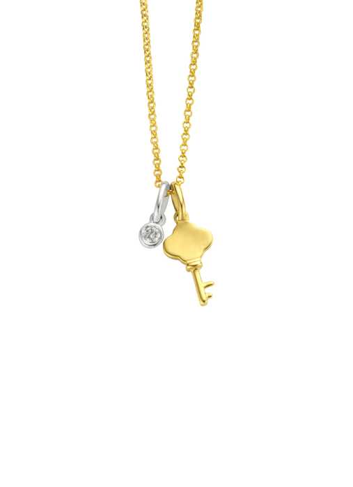 Diamond Point Symbols pendant in 14 karat yellow and whitegold