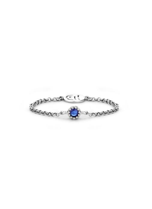 Diamond Point Witgouden ring 0.05 ct blauwe saffier Joy