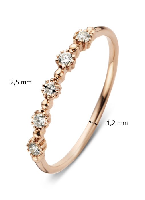 Diamond Point Roségouden ring 0.17 ct diamant Joy