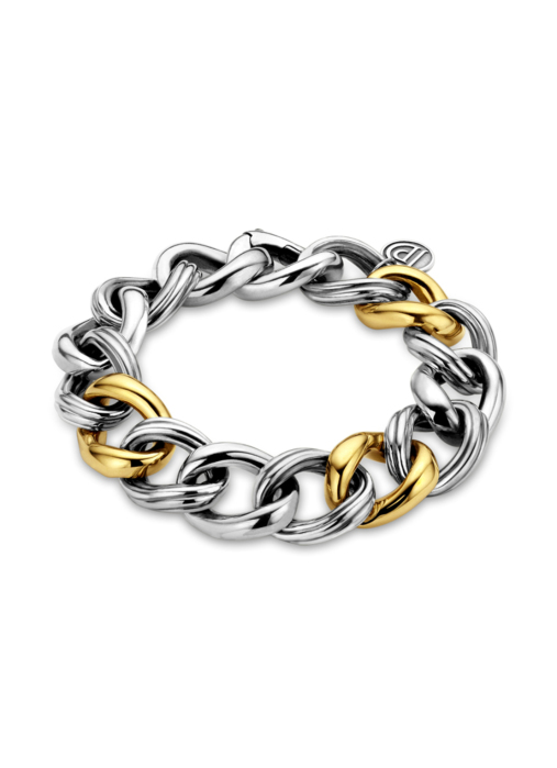 Diamond Point Sterling zilver gourmette armband (M)