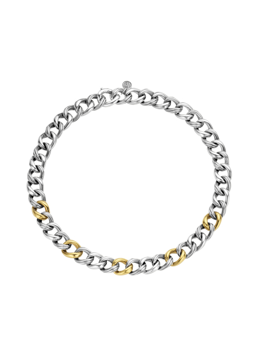 Diamond Point Sterling zilver gourmette collier (S)