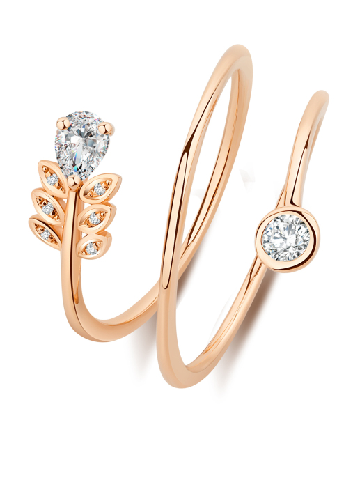 Diamond Point Solitair ring in 14 karat rose gold