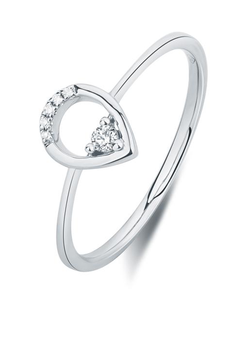 Diamond Point Solitair ring in 14 karat white gold