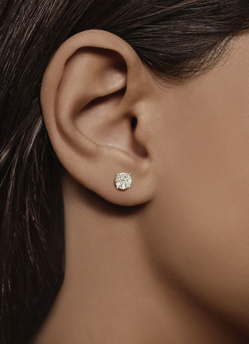 Diamond Point Enchanted earrings in 14 karat yellow gold with white rhodium