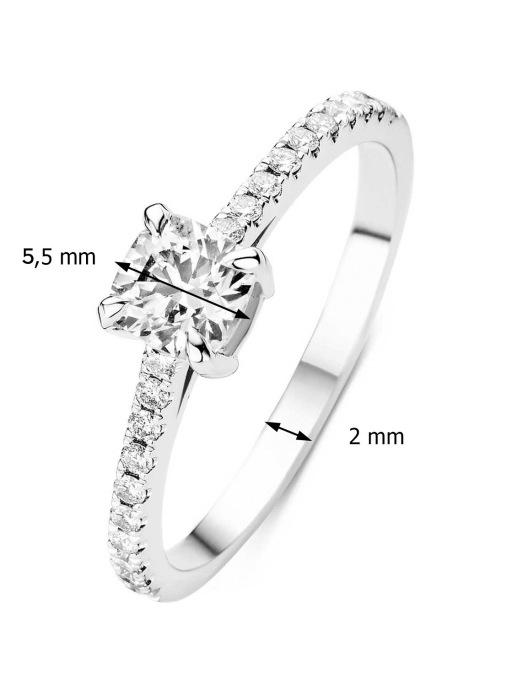 Diamond Point Witgouden ring, 0.55 ct diamant, Hearts & Arrows