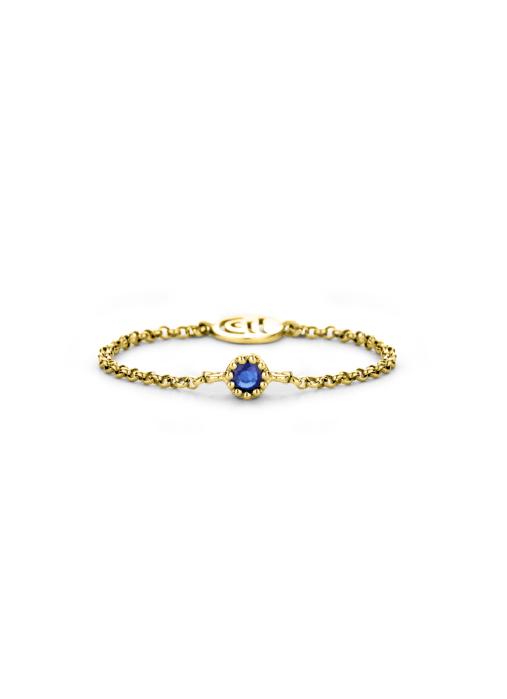 Diamond Point Geelgouden ring 0.05 ct blauwe saffier Joy