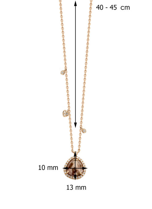 Diamond Point Indian summer necklace in 14 karat rose gold