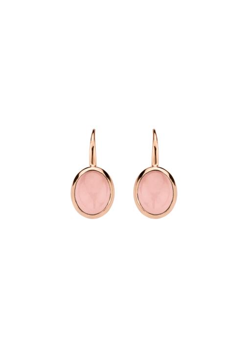 Diamond Point Roségouden oorsieraden, 2.00 ct roze kwarts, Little Drops