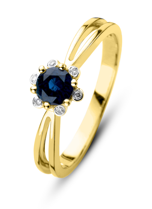 Diamond Point Geelgouden ring 0.50 ct blauwe saffier Empress