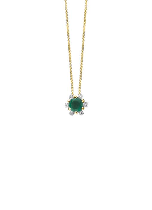 Diamond Point Geelgouden hanger 0.35 ct smaragd Empress
