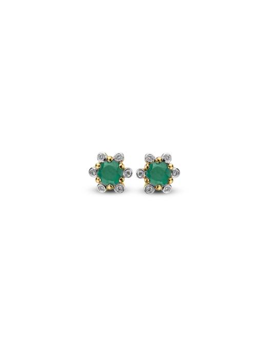 Diamond Point Geelgouden oorsieraden 0.44 ct smaragd Empress