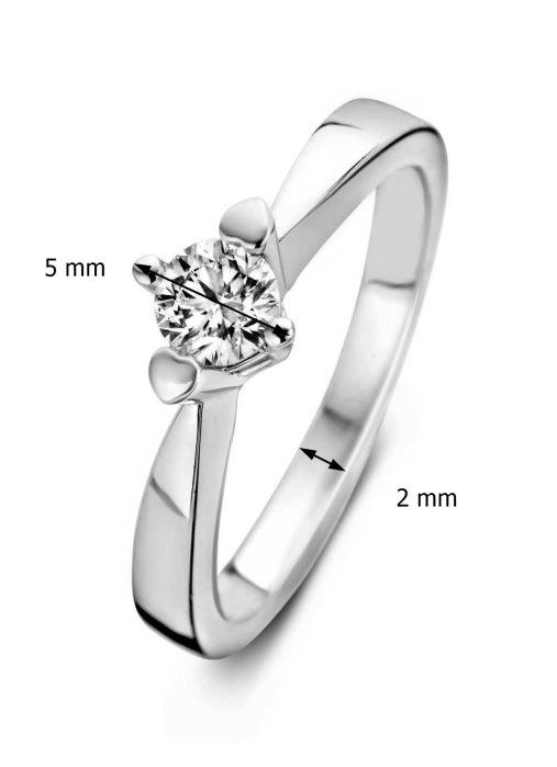Diamond Point Witgouden ring, 0.16 ct diamant, Hearts & Arrows