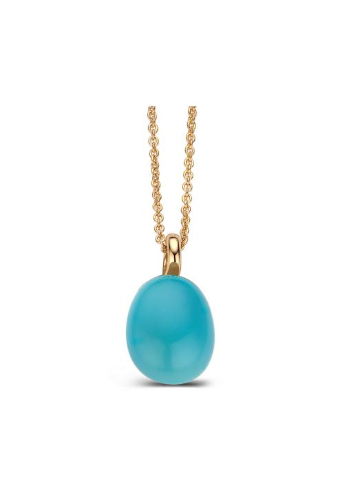 Diamond Point Roségouden hanger 3.00 ct blauwe chalcedoon Little Drops