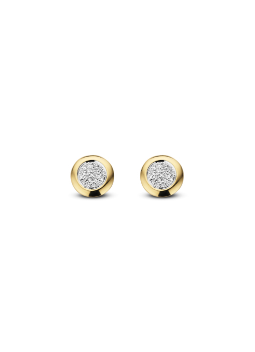 Diamond Point Caviar earrings in 14 karat yellow gold with white rhodium