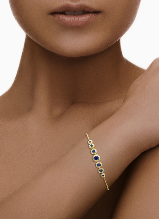 Diamond Point Colors bracelet in 14 karat yellow gold