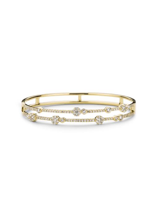 Diamond Point Geelgouden armband 1.37 ct diamant Caviar