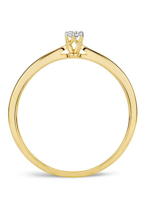 Diamond Point Starlight ring in 14 karat yellow gold with white rhodium