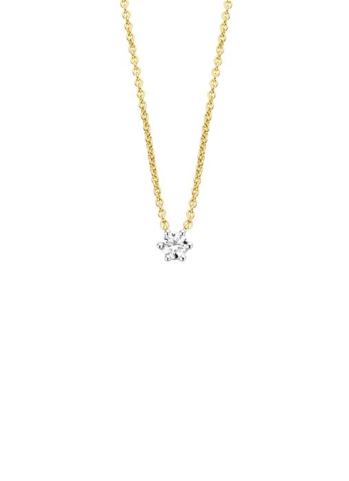 Diamond Point Halskette in 14K Gelbgold mit Weißes Rhodium