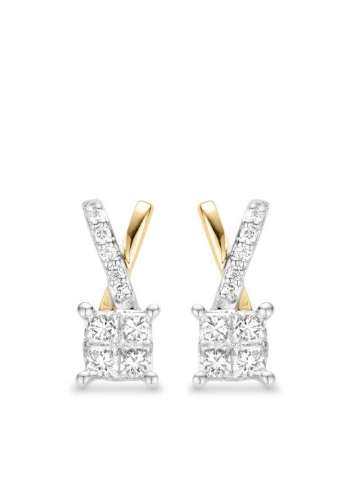 Diamond Point Fourever Ohrringe in 14 karaat geel- en witgoud