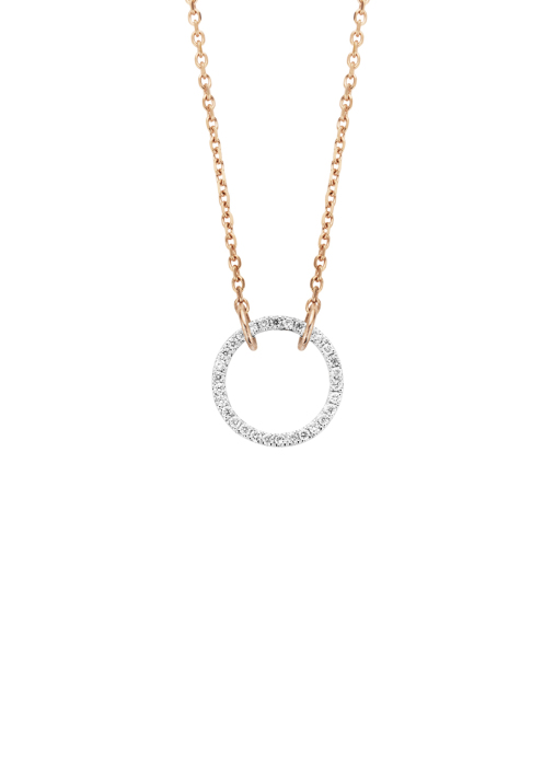 Diamond Point Alliance necklace in 14 karat rose and white gold
