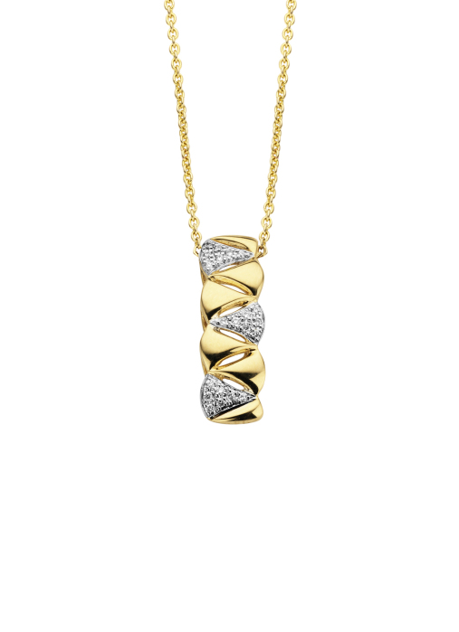 Diamond Point Caviar pendant in 14 karat yellow gold with white rhodium