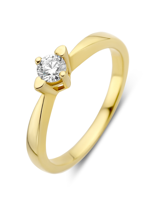 Diamond Point Hearts & arrows ring in 18 karat yellow gold