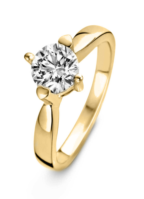 Diamond Point Geelgouden ring, 0.50 ct diamant, Hearts & Arrows