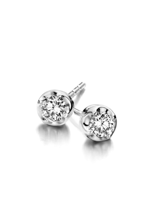 Diamond Point Witgouden oorsieraden, 0.14 ct diamant, Solitair