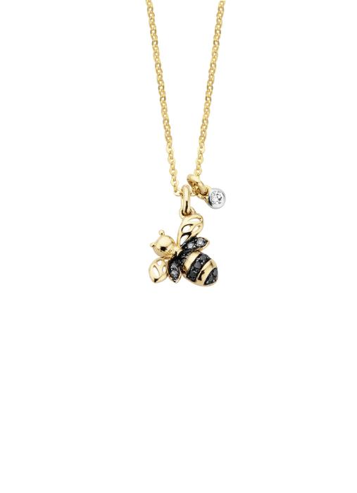 Diamond Point Queen bee pendant in 14 karat yellow gold