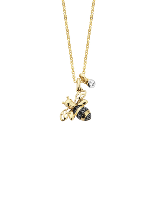 Diamond Point Queen bee pendant in 14 karat yellow gold