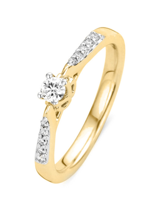 Diamond Point Geelgouden ring, 0.18 ct diamant, Hearts & Arrows