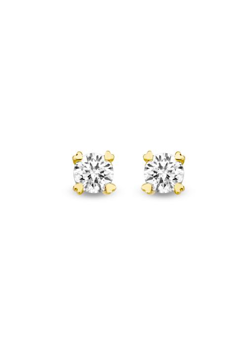 Diamond Point Hearts & arrows earrings in 18 karat yellow gold