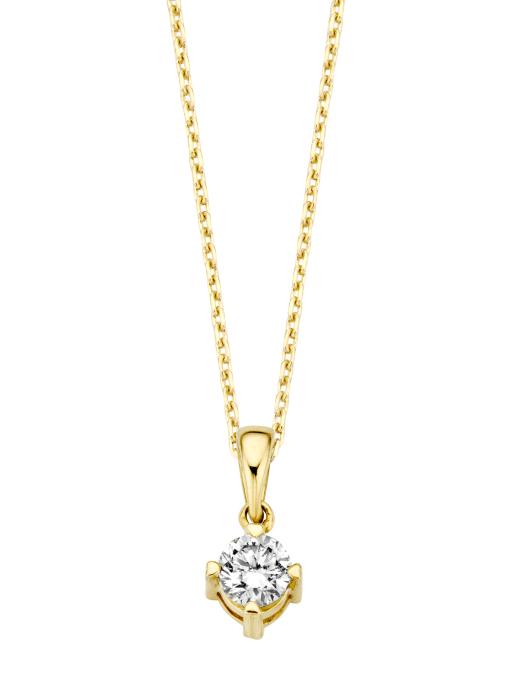 Diamond Point Geelgouden hanger, 0.25 ct diamant, Hearts & Arrows