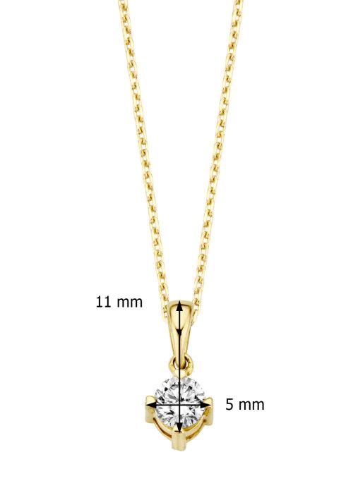 Diamond Point Hearts & arrows pendant in 18 karat yellow gold