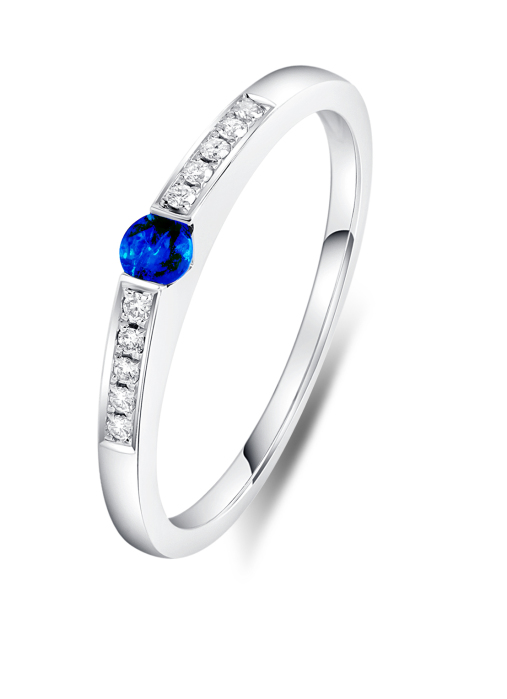 Diamond Point Colors ring in 18 karat white gold