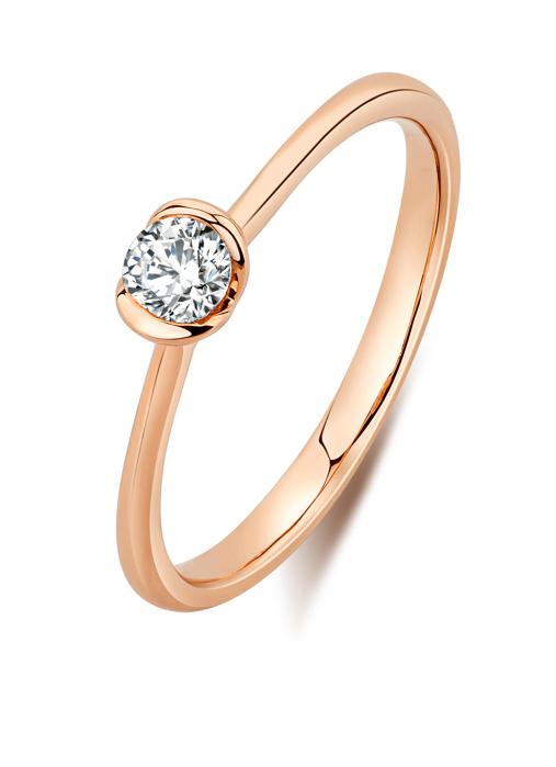 Diamond Point Solitair ring in 18 karat rose gold