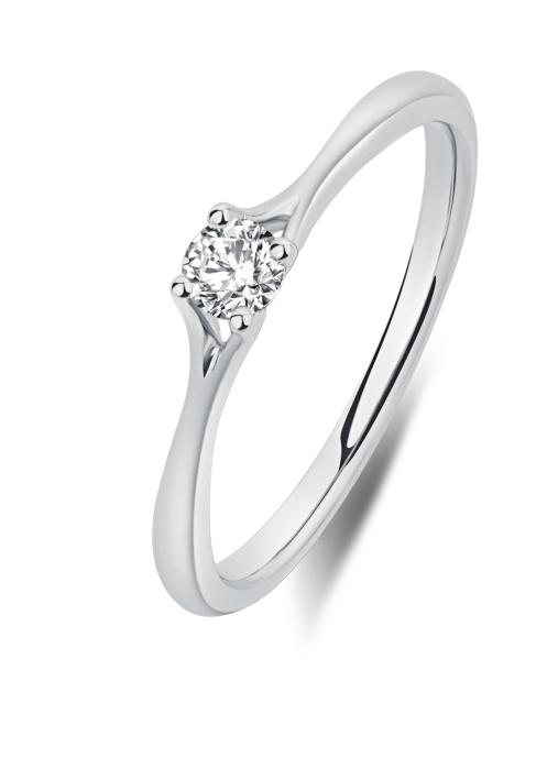 Diamond Point Solitair ring in 18 karat white gold
