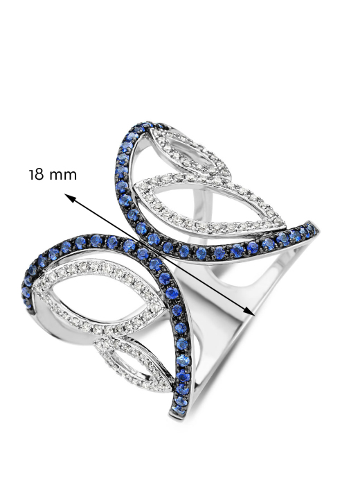Diamond Point Witgouden ring 0.56 ct blauwe saffier Like a star