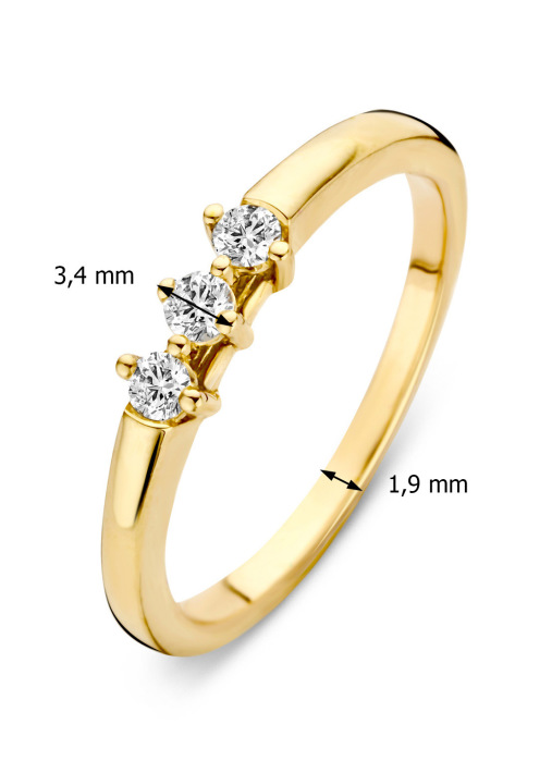 Diamond Point Geelgouden ring, 0.15 ct diamant, Hearts & Arrows
