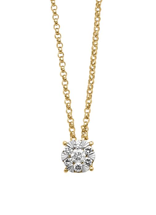 Diamond Point Enchanted Anhänger in 14K Gelbgold mit Weißes Rhodium