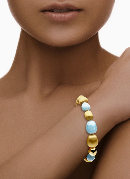 Diamond Point Marigold bracelet in 18 karat yellow gold