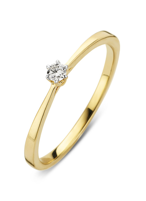 Diamond Point Ring in 14K Gelbgold mit Weißes Rhodium