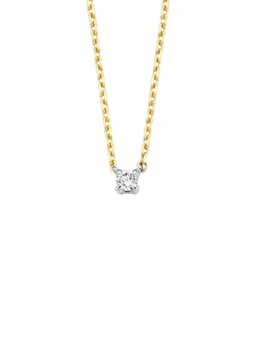 Diamond Point Halskette in 14 karaat geel- en witgoud
