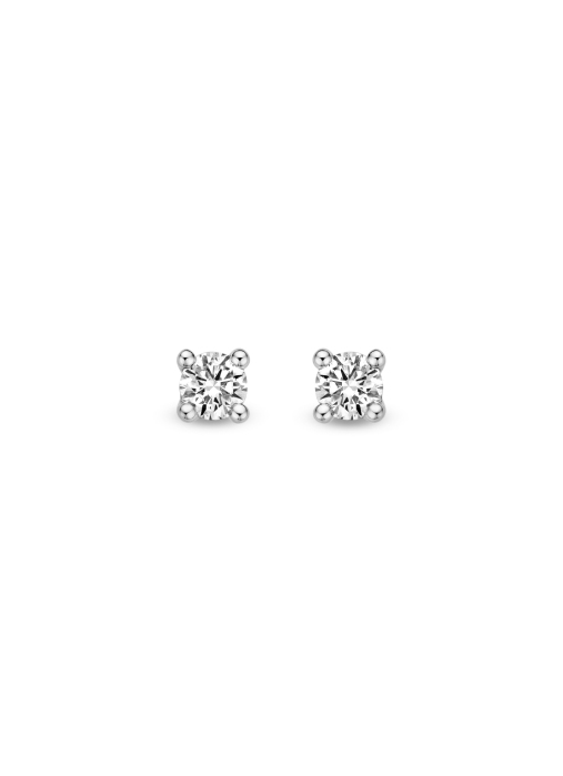 Diamond Point Starlight earrings in 14 karat yellow gold with white rhodium