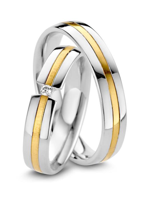 Diamond Point Wedding Ring in 14 karaat bicolor