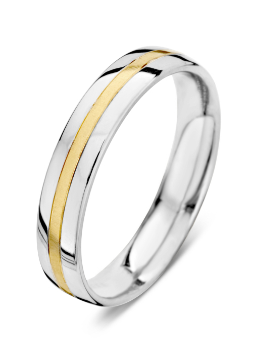 Diamond Point Wedding Ring in 18 karaat bicolor