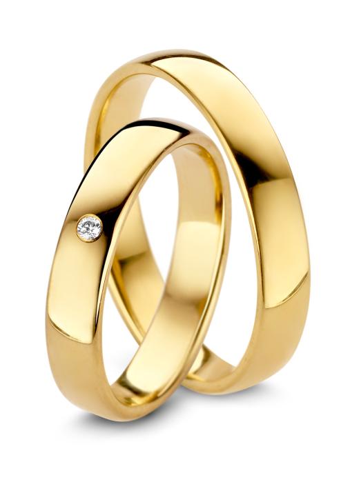 Diamond Point Geelgouden trouwring heren