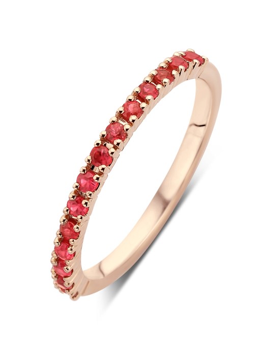 Diamond Point Roségouden ring, 0.42 ct robijn, Ensemble