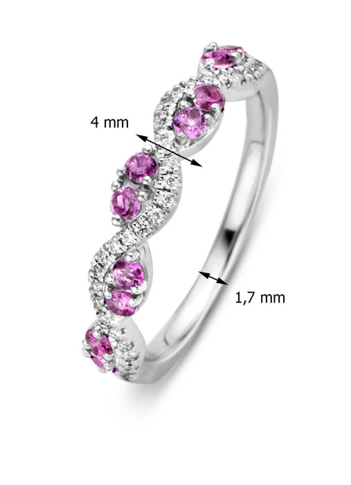 Diamond Point Witgouden ring, 0.36 ct roze toermalijn, Colors