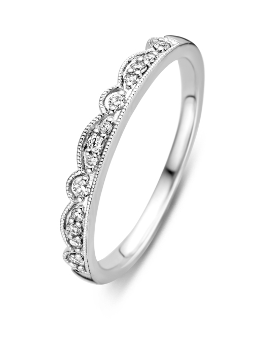 Diamond Point Witgouden ring, 0.11 ct diamant, Since 1904